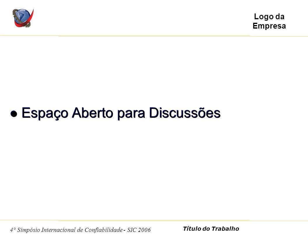 11 4° Simpósio Internacional de Confiabilidade - SIC 2006 Título do Trabalho Logo da Empresa Espaço Aberto para Discussões