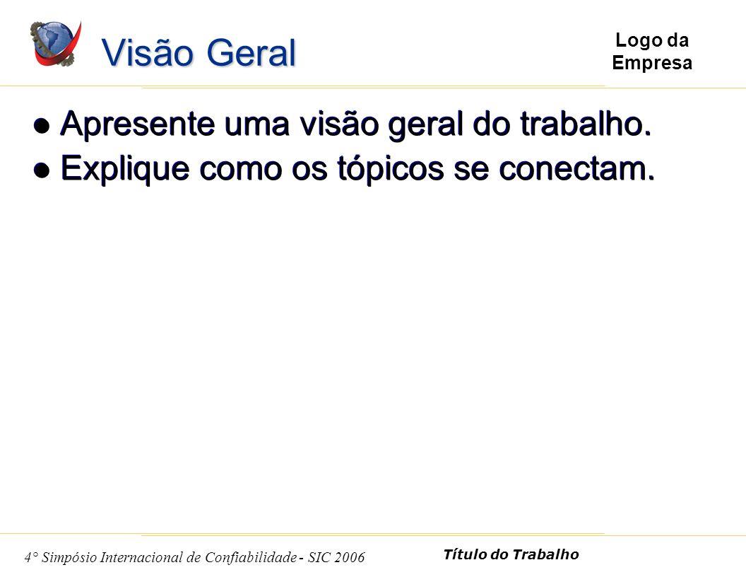 4 4° Simpósio Internacional de Confiabilidade - SIC 2006 Título do Trabalho Logo da Empresa Apresente uma visão geral do trabalho.