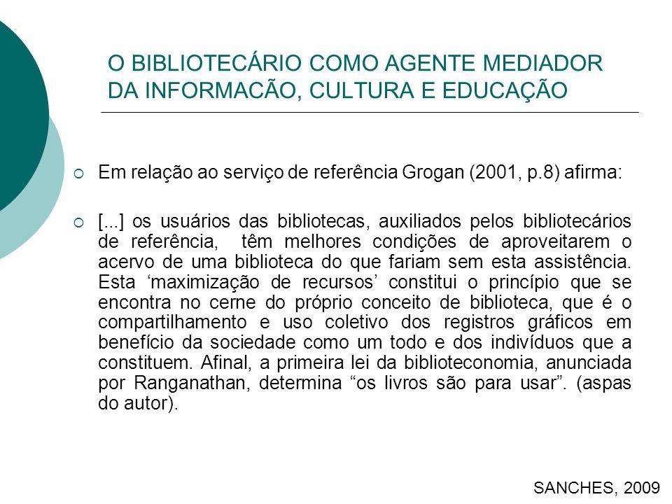 O BIBLIOTECÁRIO COMO AGENTE MEDIADOR DA INFORMACÃO, CULTURA E EDUCAÇÃO Em relação ao serviço de referência Grogan (2001, p.8) afirma: [...] os usuário