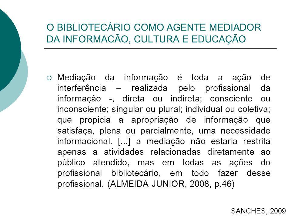 O BIBLIOTECÁRIO COMO AGENTE MEDIADOR DA INFORMACÃO, CULTURA E EDUCAÇÃO Mediação da informação é toda a ação de interferência – realizada pelo profissi