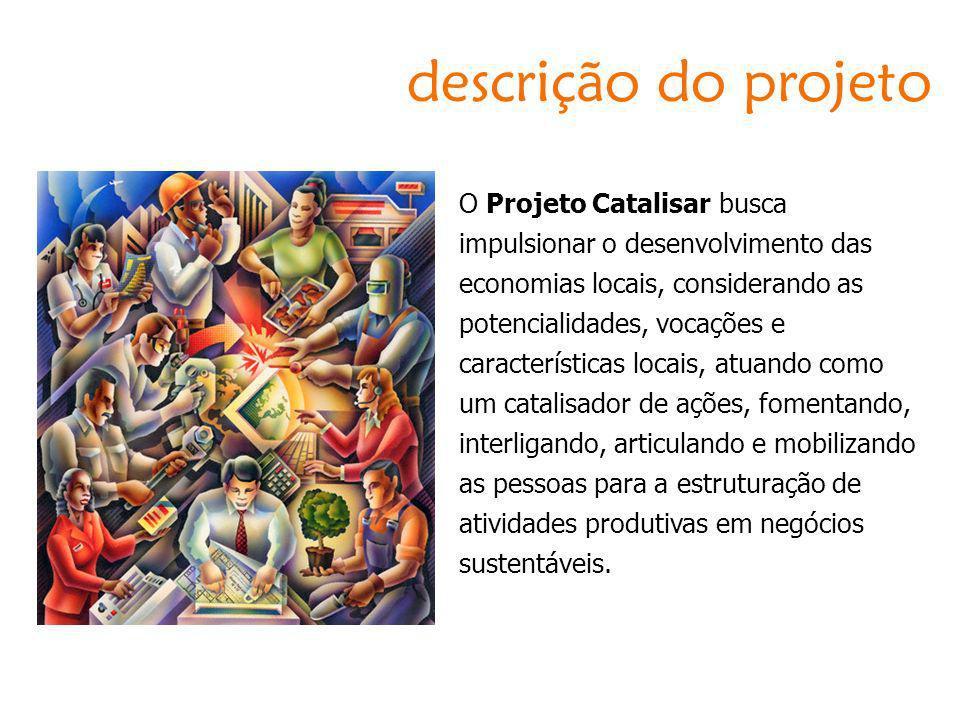 descrição do projeto O Projeto Catalisar busca impulsionar o desenvolvimento das economias locais, considerando as potencialidades, vocações e caracte