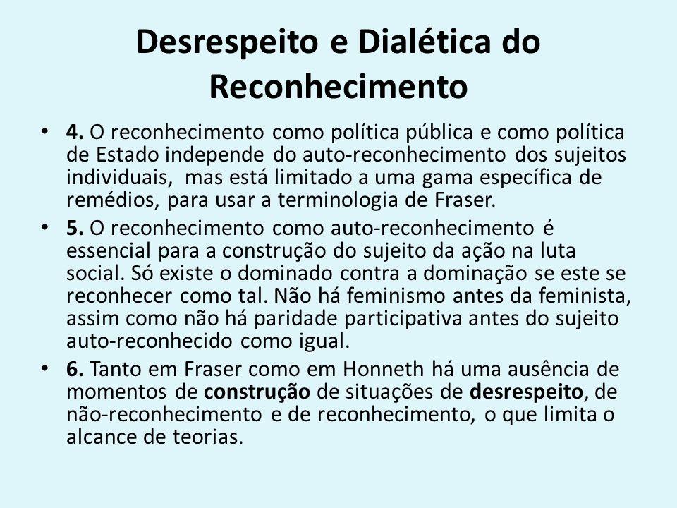 Desrespeito e Dialética do Reconhecimento 4. O reconhecimento como política pública e como política de Estado independe do auto-reconhecimento dos suj