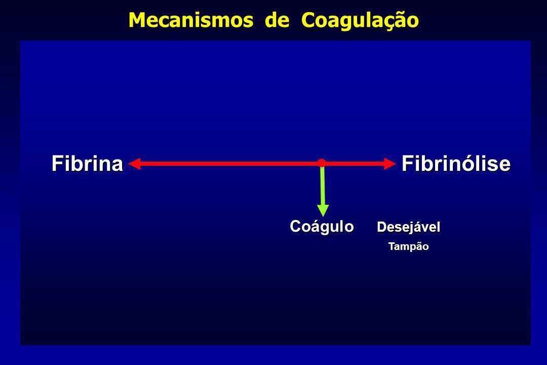 FibrinaFibrinólise Coágulo Desejável Tampão Mecanismos de Coagulação
