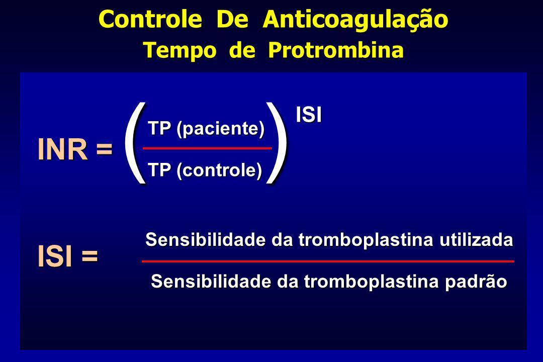 Controle De Anticoagulação Tempo de Protrombina INR = ISI = TP (paciente) TP (controle) Sensibilidade da tromboplastina utilizada Sensibilidade da tro