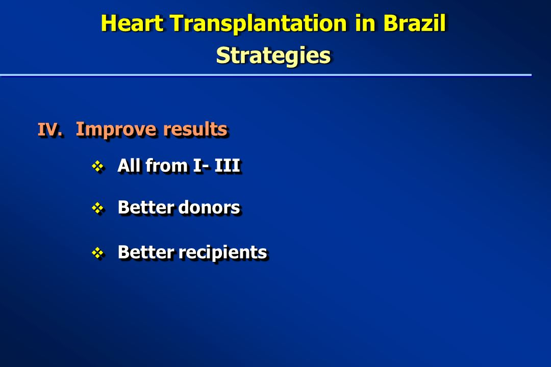 Heart Transplantation in Brazil Strategies IV.