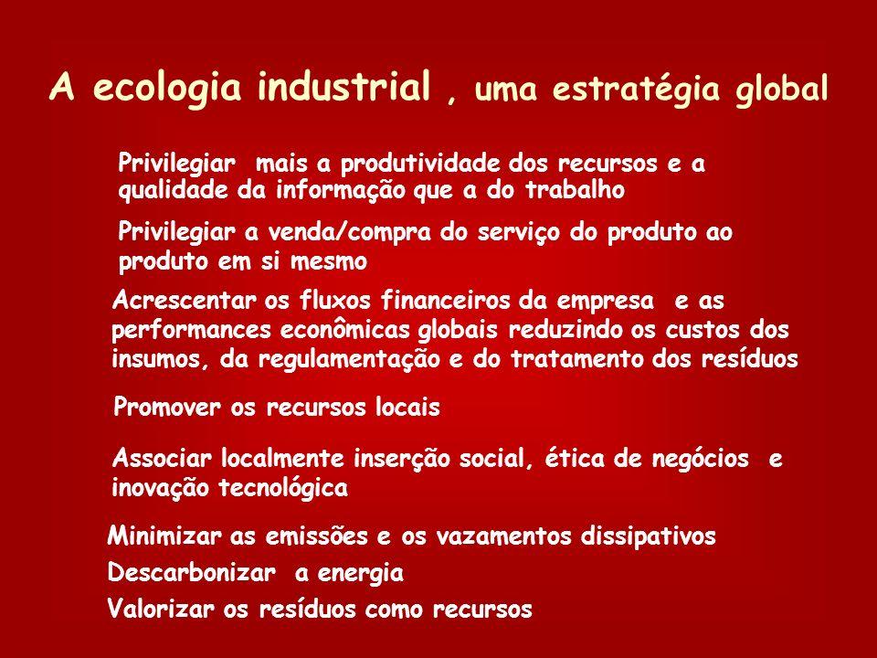 Descrever o sistema industrial como uma certa configuração dinâmica de fluxo e de estoques de material, energia, resíduos e informações. Analisar o me