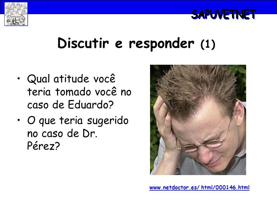 Discutir e responder (1) Qual atitude você teria tomado você no caso de Eduardo? O que teria sugerido no caso de Dr. Pérez? www.netdoctor.es/ html/000