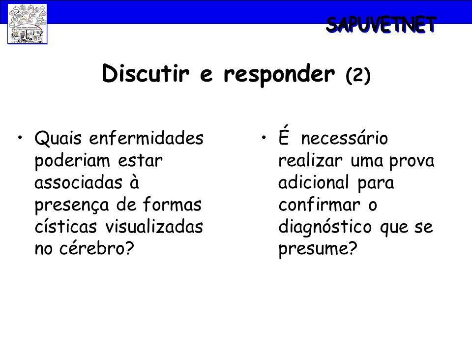 Discutir e responder (2) Quais enfermidades poderiam estar associadas à presença de formas císticas visualizadas no cérebro? É necessário realizar uma