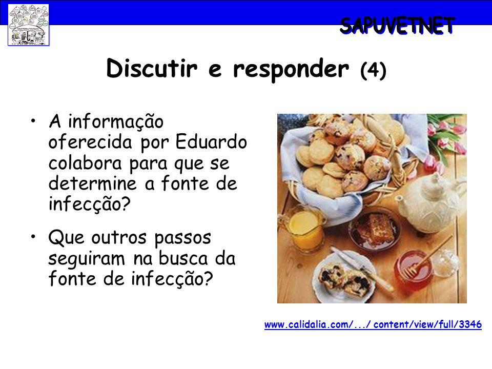 Discutir e responder (4) A informação oferecida por Eduardo colabora para que se determine a fonte de infecção? Que outros passos seguiram na busca da