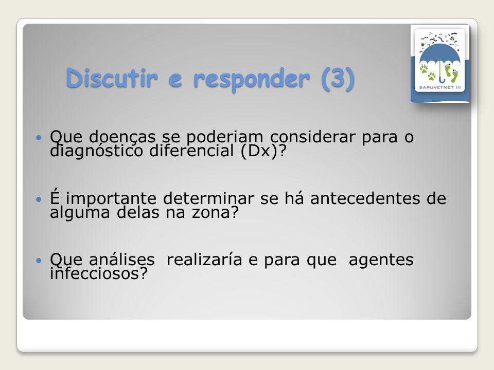 Discutir e responder (3) Que doenças se poderiam considerar para o diagnóstico diferencial (Dx)? É importante determinar se há antecedentes de alguma