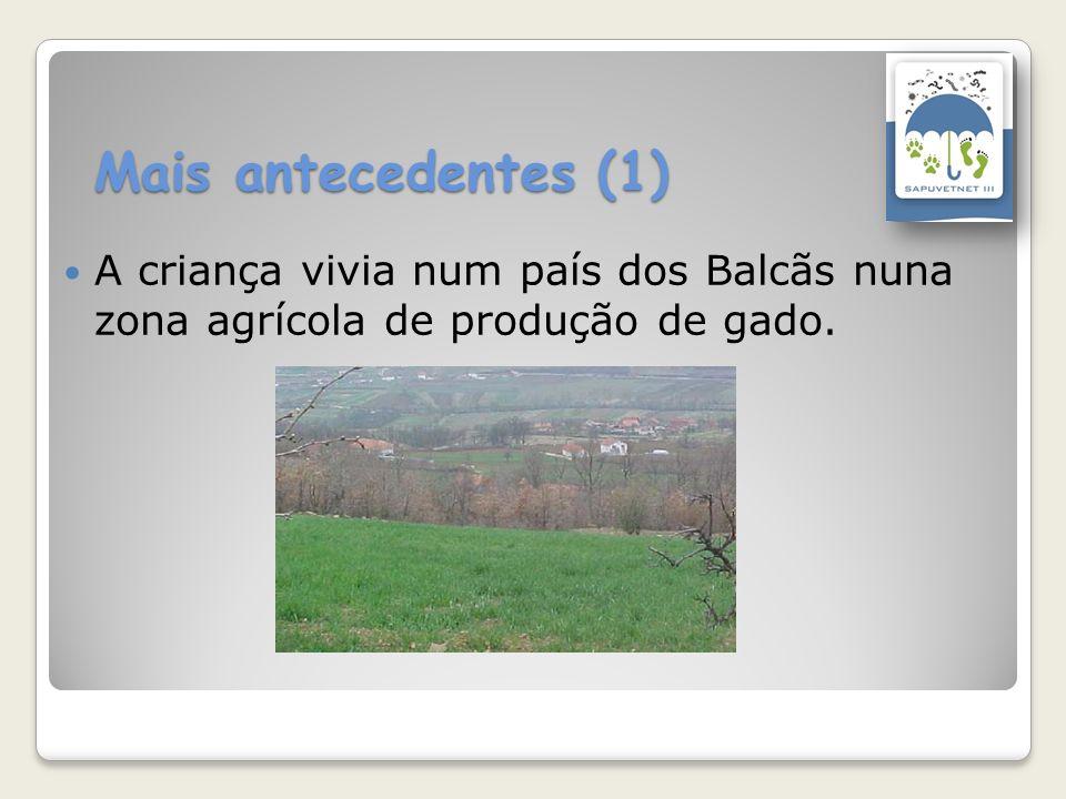 Mais antecedentes (1) A criança vivia num país dos Balcãs nuna zona agrícola de produção de gado.