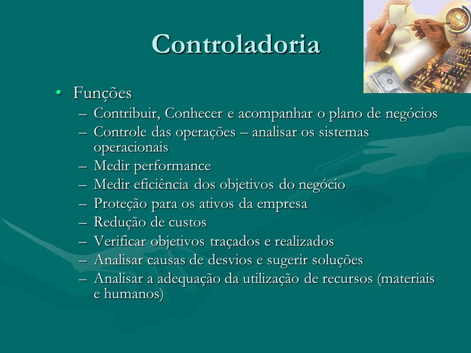 Controladoria FunçõesFunções –Contribuir, Conhecer e acompanhar o plano de negócios –Controle das operações – analisar os sistemas operacionais –Medir
