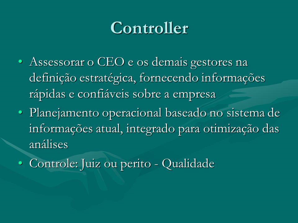 Controller Assessorar o CEO e os demais gestores na definição estratégica, fornecendo informações rápidas e confiáveis sobre a empresaAssessorar o CEO