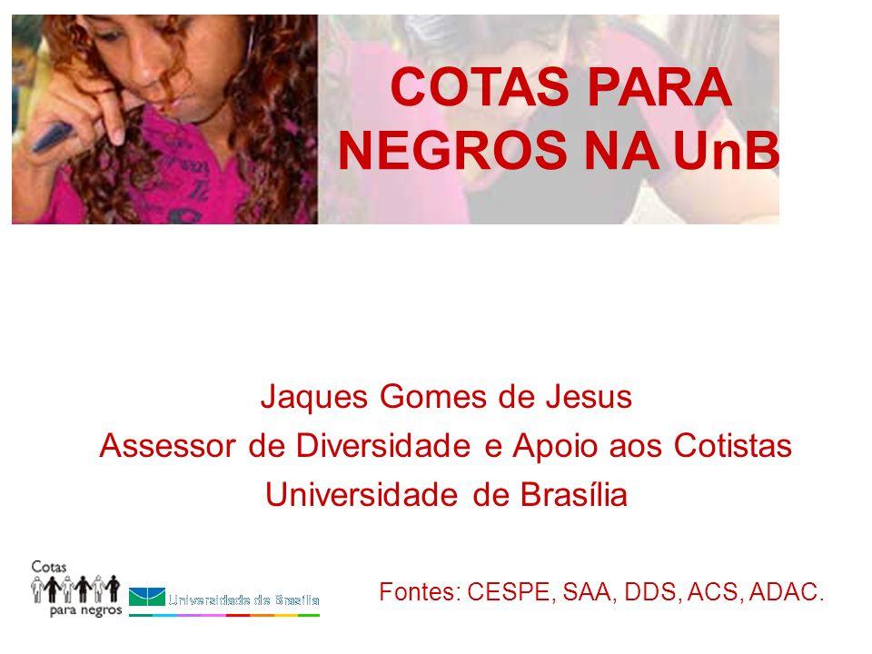 Jaques Gomes de Jesus Assessor de Diversidade e Apoio aos Cotistas Universidade de Brasília COTAS PARA NEGROS NA UnB Fontes: CESPE, SAA, DDS, ACS, ADA