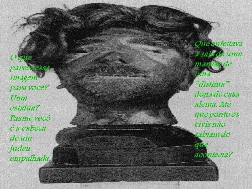 O que parece essa imagem para você.Uma estatua. Pasme você é a cabeça de um judeu empalhada.