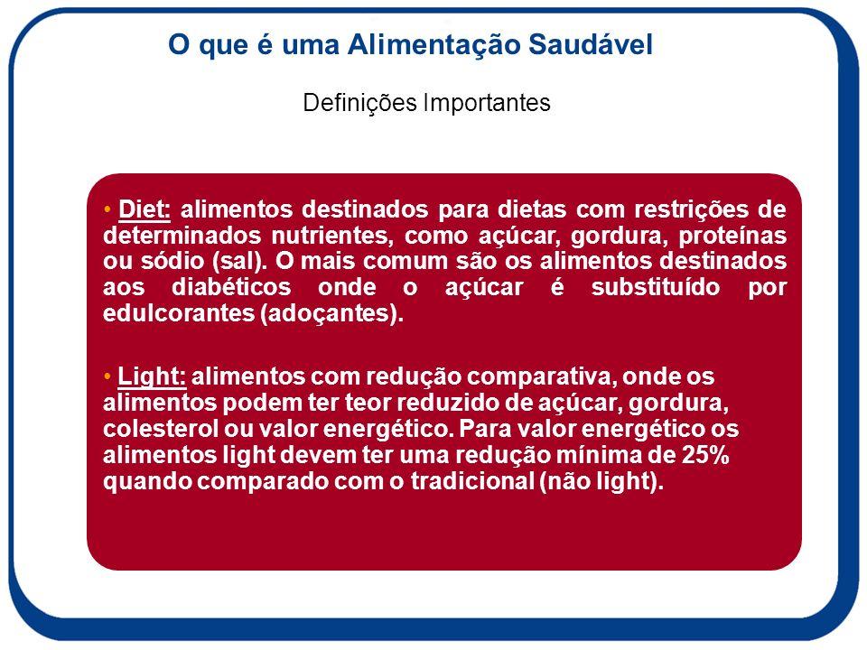 Definições Importantes O que é uma Alimentação Saudável Diet: alimentos destinados para dietas com restrições de determinados nutrientes, como açúcar, gordura, proteínas ou sódio (sal).