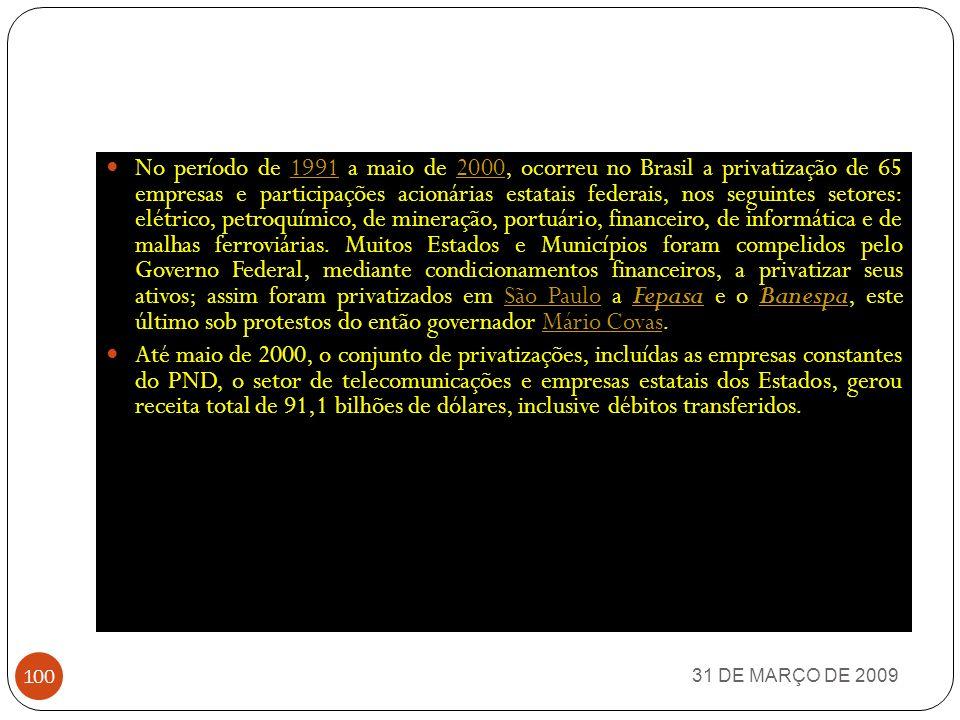 31 DE MARÇO DE 2009 99 PRIVATIZAÇÕES NESSE PERÍODO