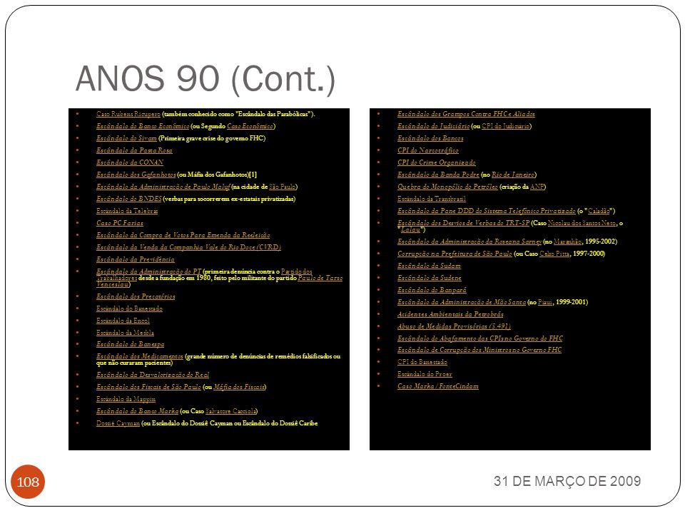 ANOS 90 31 DE MARÇO DE 2009 107 Escândalo da Aprovação da Lei da Privatização das Estatais Programa Nacional de Desestatização Escândalo do INSS (ou Escândalo da Previdência Social) Escândalo do INSS Escândalo do BCCI (ou caso Sérgio Corrêa da Costa) Escândalo do BCCISérgio Corrêa da Costa Escândalo da Ceme (Central de Medicamentos) Escândalo da Ceme Escândalo da LBA Esquema PP Esquema PC (Caso Collor) Esquema PC Escândalo da Eletronorte Escândalo do FGTS Escândalo da Ação Social Escândalo do BC Escândalo da Merenda Escândalo das Estatais Escândalo das Comunicações Escândalo da Vasp Escândalo da Aeronáutica Escândalo do Fundo de Participação Escândalo do BB Centro Federal de Inteligência (Criação da CFI, primeira Medida Provisória do governo Itamar Franco para combater corrupção em todas as esferas do governo federal) (1992) Centro Federal de InteligênciaCFIMedida ProvisóriaItamar Franco Caso Edmundo Pinto (1992) Caso Edmundo Pinto Escândalo do DNOCS (Departamento Nacional de Obras contra a Seca) (ou caso Inocêncio Oliveira) Escândalo do DNOCS Inocêncio Oliveira Escândalo da IBF (Indústria Brasileira de Formulários) Escândalo da IBFIndústria Brasileira de Formulários Escândalo do INAMPS (Instituto Nacional de Assistência Previdência Social) Escândalo do INAMPSInstituto Nacional de Assistência Previdência Social Irregularidades no Programa Nacional de Desestatização Caso Nilo Coelho Caso Eliseu Resende Caso Queiroz Galvão (em Pernambuco) Caso Queiroz Galvão Escândalo da Telemig (Minas Gerais) Escândalo da Telemig Jogo do Bicho (ou Caso Castor de Andrade) (no Rio de Janeiro) Jogo do BichoCastor de Andrade Caso Ney Maranhão Escândalo do Paubrasil (Paubrasil Engenharia e Montagens) Escândalo do Paubrasil Escândalo da Administração de Roberto Requião Escândalo da Cruz Vermelha Brasileira Caso José Carlos da Rocha Lima Escândalo da Colac (no Rio Grande do Sul) Escândalo da Colac Escândalo da Fundação Padre Francisco de Assis Castro Monteiro (em Ibicuitinga, Ceará) Escânda
