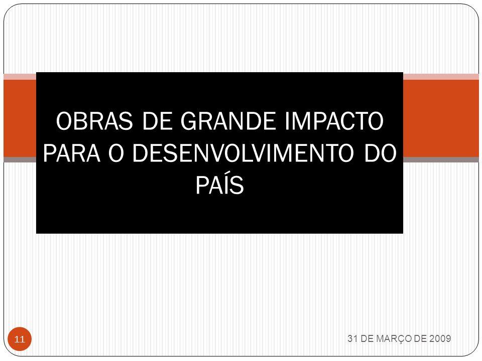 31 DE MARÇO DE 2009 10 INDA Instituto de desenvolvimento agrário; Criação do banco Central (DEZ64); SFH Sistema Financeiro habitacional; BNH Banco Nacional de Habitação; Construção de 4 milhões de moradias; Regulamentação do 13º salário; Banco da Amazônia; SUDAM; Reforma Administrativa, Agrária, Bancária, Eleitoral, habitacional, Política e Universitária; Ferrovia da soja; Rede Ferroviária ampliada de 3mil e remodelada para 11 mil KM; Frota mercante de 1 para 4 milhões de TDW; Corredores de exportações de Vitória, Santos, Paranaguá e Rio Grande; Matriculas do ensino superior de 100 mil em 1964 para 1,3 milhões em 1981; Mais de 10 milhões de estudantes nas escolas (que eram realmente escolas); Estabelecimento de assistência médico sanitária de 6 para 28 mil; Crédito Educativo; Projeto RONDON; MOBRAL;