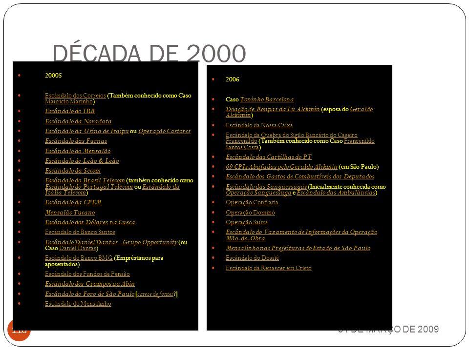 DÉCADA DE 2000 31 DE MARÇO DE 2009 109 2001 Caso Luís Estêvão Escândalo da Quebra do Sigilo do Painel do Senado (envolvendo os presidentes do Senado,
