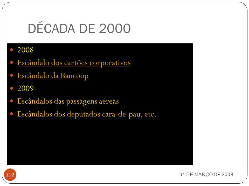 DÉCADA DE 2000 31 DE MARÇO DE 2009 111 2007 Operação Testamento CPI da Crise Aérea (Senado Federal e Câmara dos Deputados) CPI da Crise AéreaSenado Fe