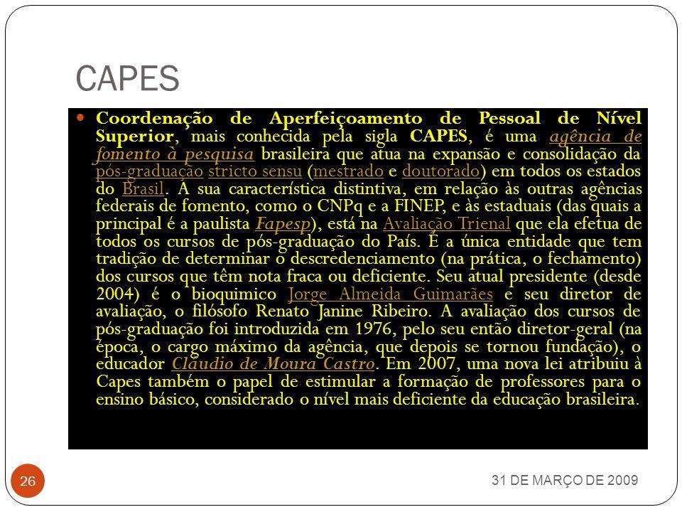 FINEP 31 DE MARÇO DE 2009 25 A Finaciadora de Estudos e Projetos, mais conhecida pela sigla FINEP, é uma empresa pública brasileira vinculada ao Ministério da Ciência e Tecnologia.