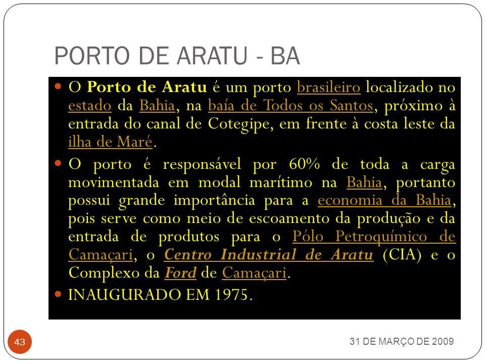 31 DE MARÇO DE 2009 42 PORTOS MARÍTIMOS