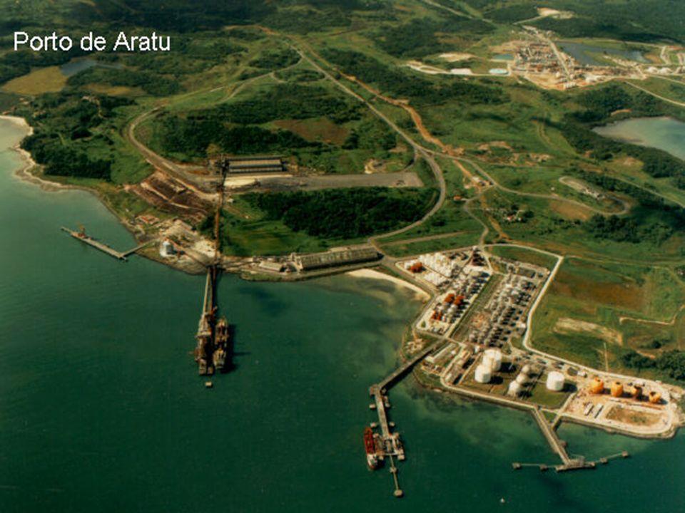 PORTO DE ARATU - BA 31 DE MARÇO DE 2009 43 O Porto de Aratu é um porto brasileiro localizado no estado da Bahia, na baía de Todos os Santos, próximo à entrada do canal de Cotegipe, em frente à costa leste da ilha de Maré.brasileiro estadoBahiabaía de Todos os Santos ilha de Maré O porto é responsável por 60% de toda a carga movimentada em modal marítimo na Bahia, portanto possui grande importância para a economia da Bahia, pois serve como meio de escoamento da produção e da entrada de produtos para o Pólo Petroquímico de Camaçari, o Centro Industrial de Aratu (CIA) e o Complexo da Ford de Camaçari.Bahiaeconomia da BahiaPólo Petroquímico de CamaçariCentro Industrial de AratuFordCamaçari INAUGURADO EM 1975.