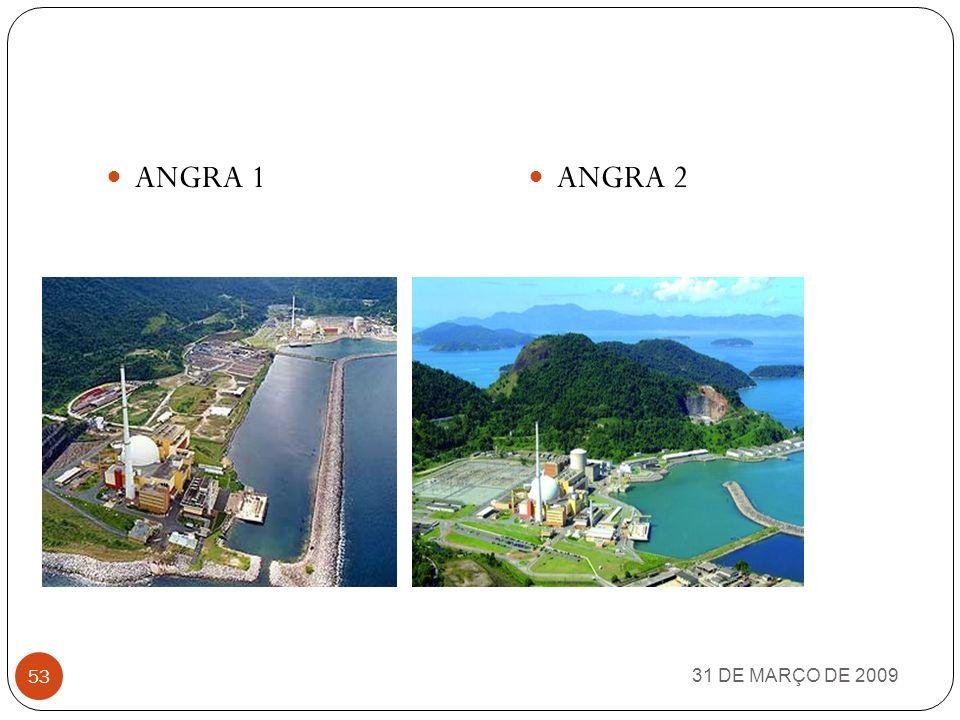 ANGRA 1 31 DE MARÇO DE 2009 52 Angra 1 é a primeira das usinas nucleares que deu origem à Central Nuclear Almirante Álvaro Albertousinas nuclearesCent