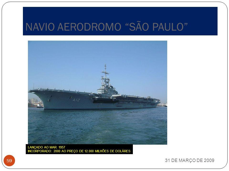 ESQUADA BRASILEIRA 31 DE MARÇO DE 2009 58 Na atualidade, a Esquadra brasileira encontra-se equipada com um navio- aérodromo, seis fragatas Classe Nite