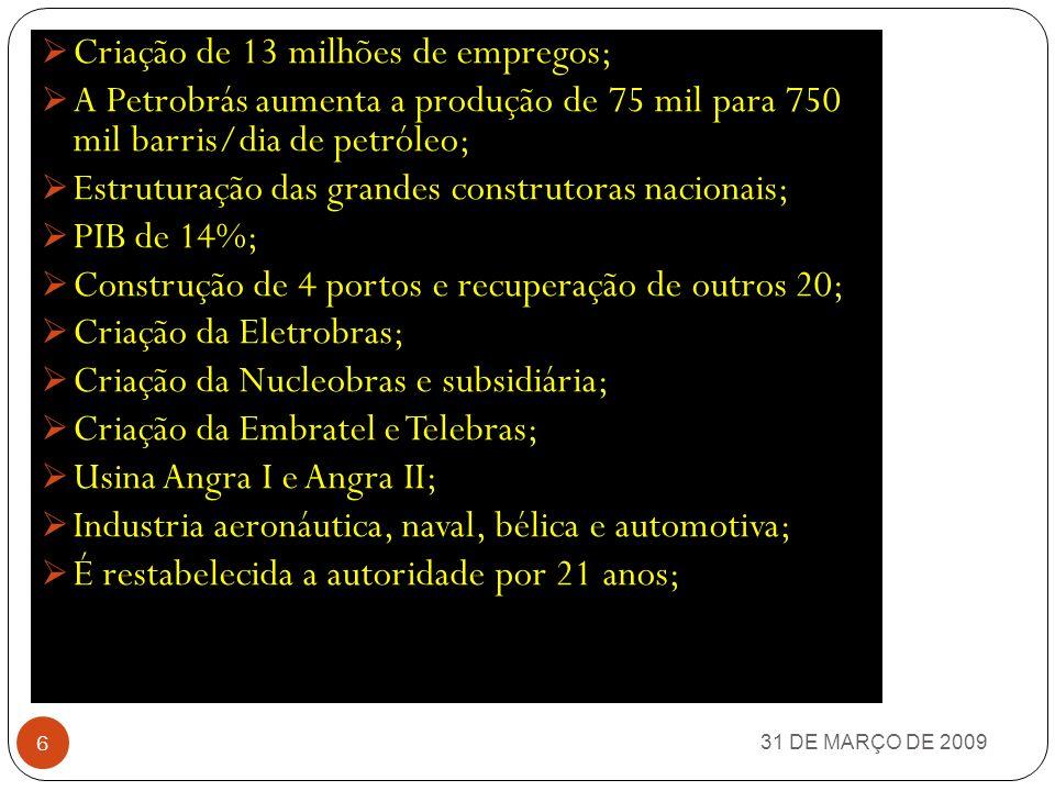 31 DE MARÇO DE 2009 5 TIREM AS SUAS CONCLUSÕES
