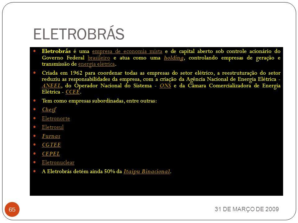 INFRAERO 31 DE MARÇO DE 2009 64 A Infraero (sigla para Empresa Brasileira de Infraestrutura Aeroportuária) é uma empresa pública federal brasileira de administração indireta, vinculada ao Ministério da Defesa.