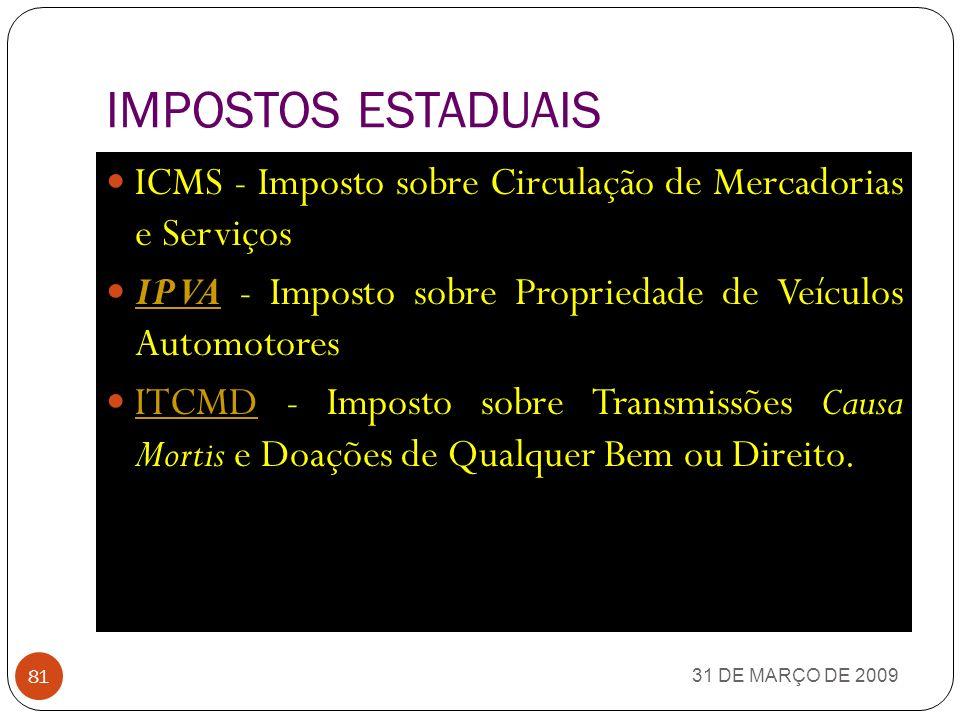 IMPOSTOS FEDERAIS 31 DE MARÇO DE 2009 80 II - Imposto sobre a importação de produtos estrangeiros II IE - Imposto sobre a exportação de produtos nacio