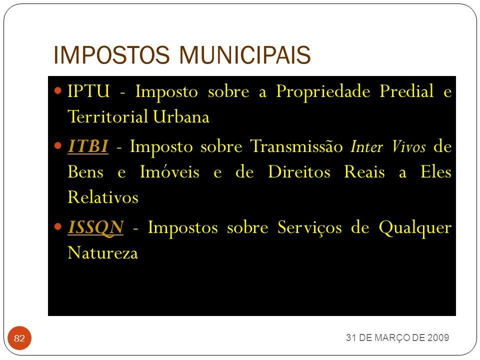 IMPOSTOS ESTADUAIS 31 DE MARÇO DE 2009 81 ICMS - Imposto sobre Circulação de Mercadorias e Serviços IPVA - Imposto sobre Propriedade de Veículos Autom