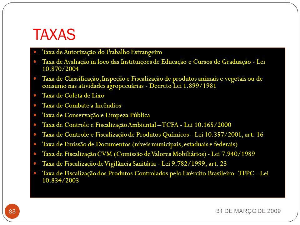 IMPOSTOS MUNICIPAIS 31 DE MARÇO DE 2009 82 IPTU - Imposto sobre a Propriedade Predial e Territorial Urbana ITBI - Imposto sobre Transmissão Inter Vivo