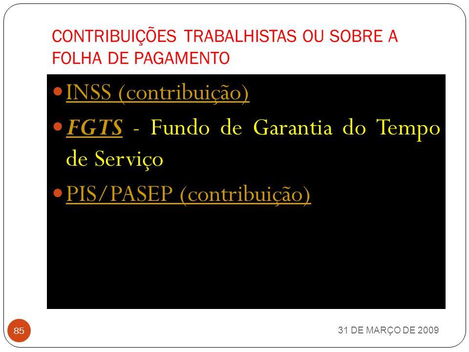 TAXAS 31 DE MARÇO DE 2009 84 Taxa de Fiscalização e Controle da Previdência Complementar - TAFIC - art.