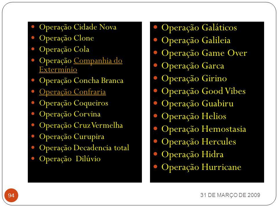 31 DE MARÇO DE 2009 93 Operação Alcaides Operação Anaconda Operação Anos Dourados Operação Antídodo 1 e 2 Operação Áraripe Operação Argus Operação Aza
