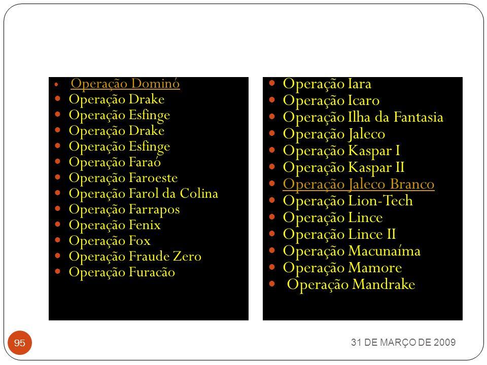 31 DE MARÇO DE 2009 94 Operação Cidade Nova Operação Clone Operação Cola Operação Companhia do ExtermínioCompanhia do Extermínio Operação Concha Branc