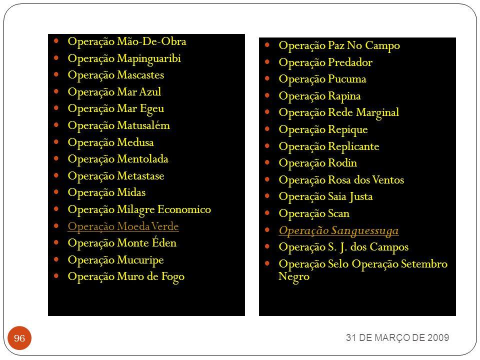 31 DE MARÇO DE 2009 95 Operação Dominó Operação Drake Operação Esfinge Operação Drake Operação Esfinge Operação Faraó Operação Faroeste Operação Farol