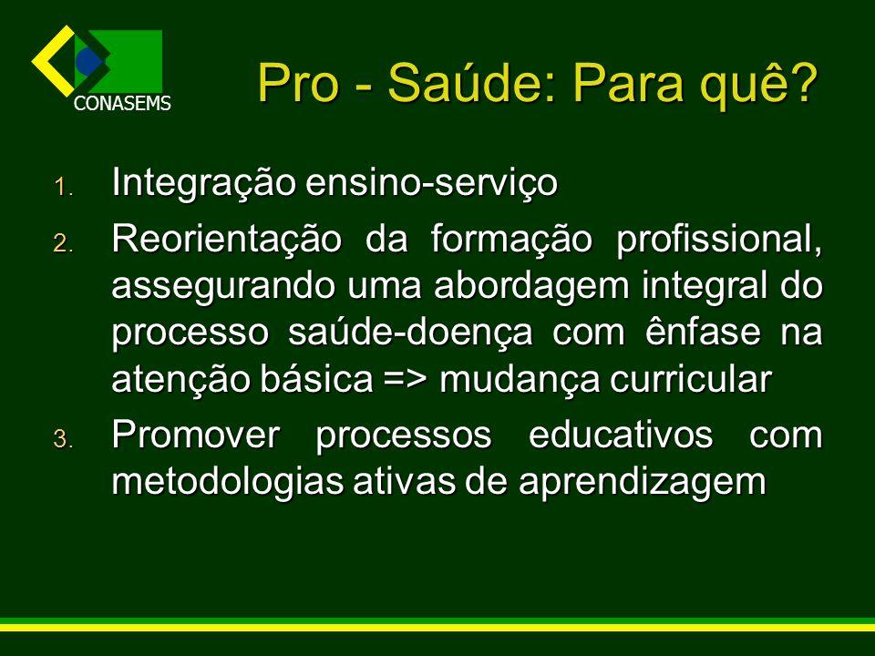 CONASEMS Pro - Saúde: Para quê? 1. Integração ensino-serviço 2. Reorientação da formação profissional, assegurando uma abordagem integral do processo