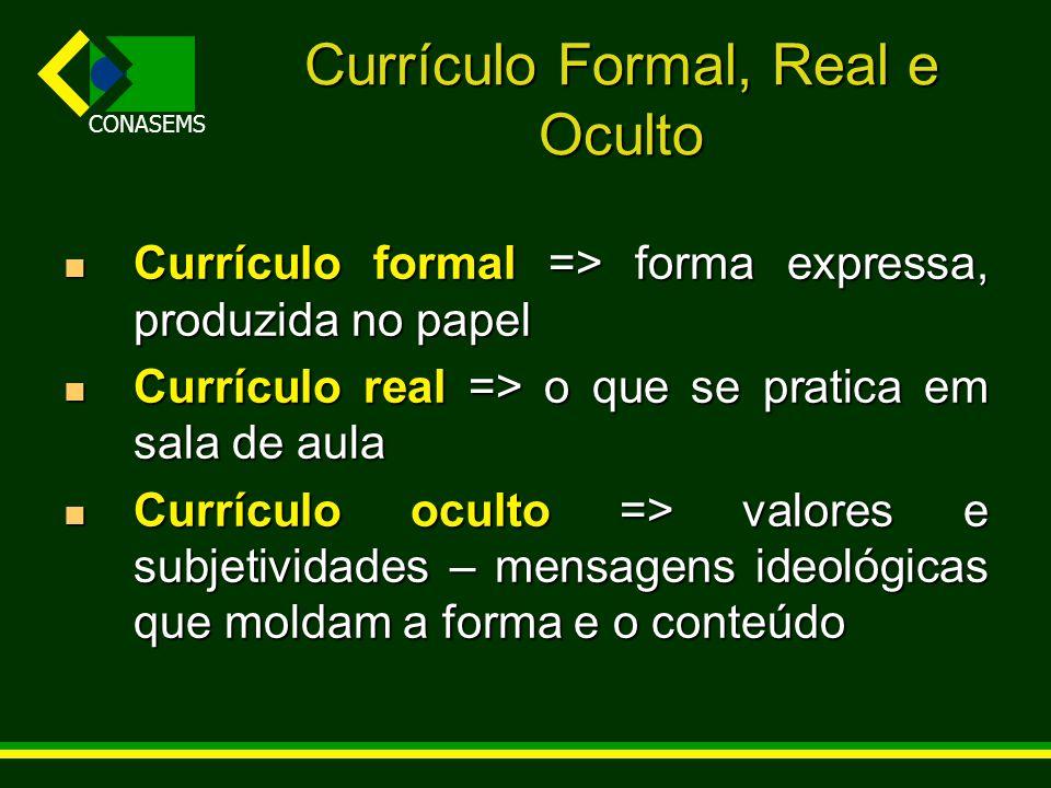 CONASEMS Currículo Formal, Real e Oculto Currículo formal => forma expressa, produzida no papel Currículo formal => forma expressa, produzida no papel