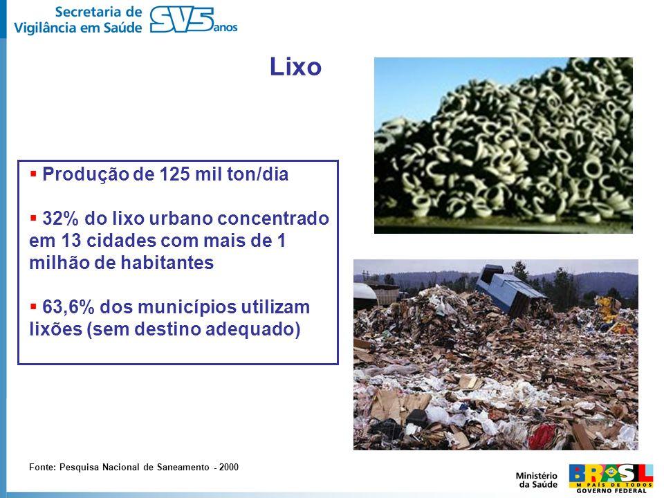 Lixo Produção de 125 mil ton/dia 32% do lixo urbano concentrado em 13 cidades com mais de 1 milhão de habitantes 63,6% dos municípios utilizam lixões