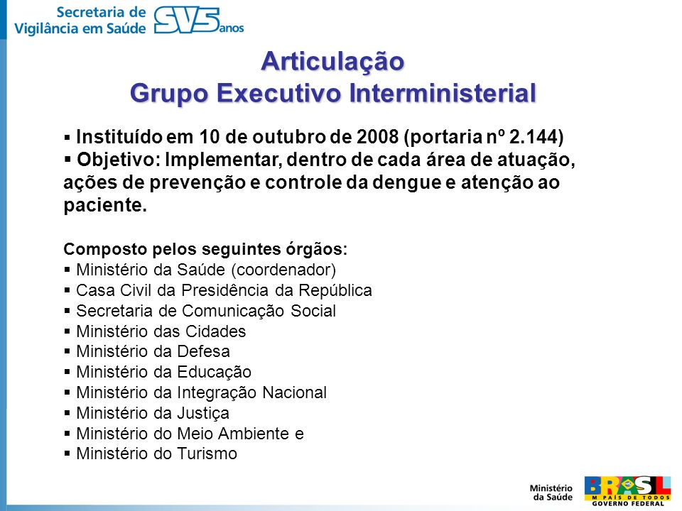Instituído em 10 de outubro de 2008 (portaria nº 2.144) Objetivo: Implementar, dentro de cada área de atuação, ações de prevenção e controle da dengue