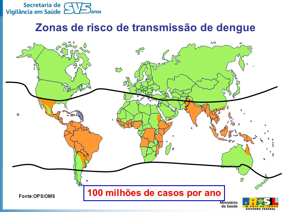 Zonas de risco de transmissão de dengue Fonte:OPS/OMS 100 milhões de casos por ano