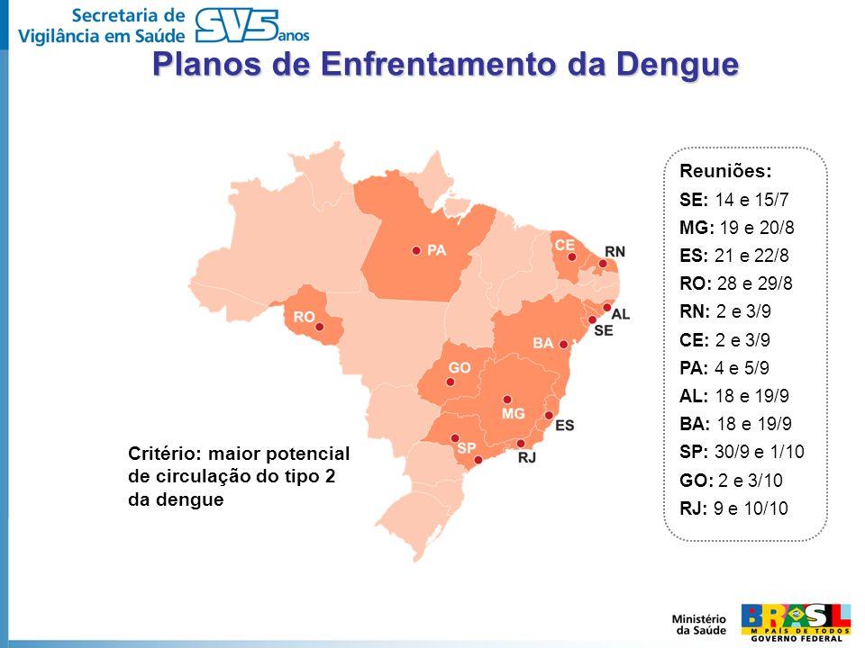 Critério: maior potencial de circulação do tipo 2 da dengue Reuniões: SE: 14 e 15/7 MG: 19 e 20/8 ES: 21 e 22/8 RO: 28 e 29/8 RN: 2 e 3/9 CE: 2 e 3/9