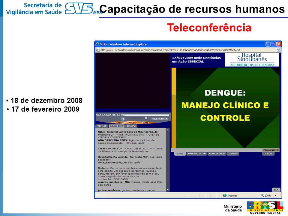 18 de dezembro 2008 17 de fevereiro 2009 Capacitação de recursos humanos Teleconferência
