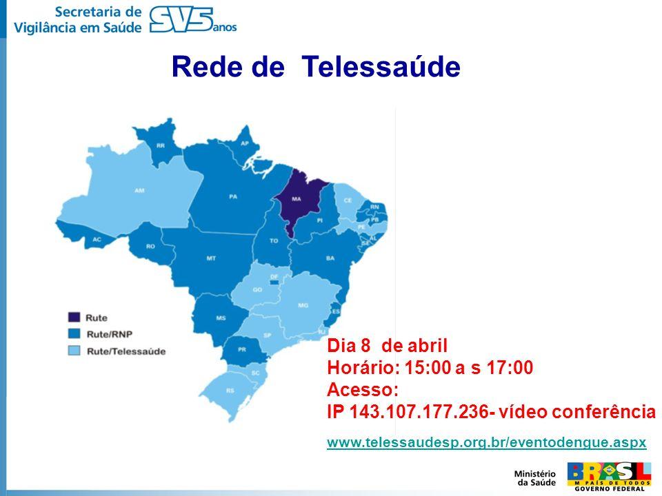 Rede de Telessaúde Dia 8 de abril Horário: 15:00 a s 17:00 Acesso: IP 143.107.177.236- vídeo conferência www.telessaudesp.org.br/eventodengue.aspx