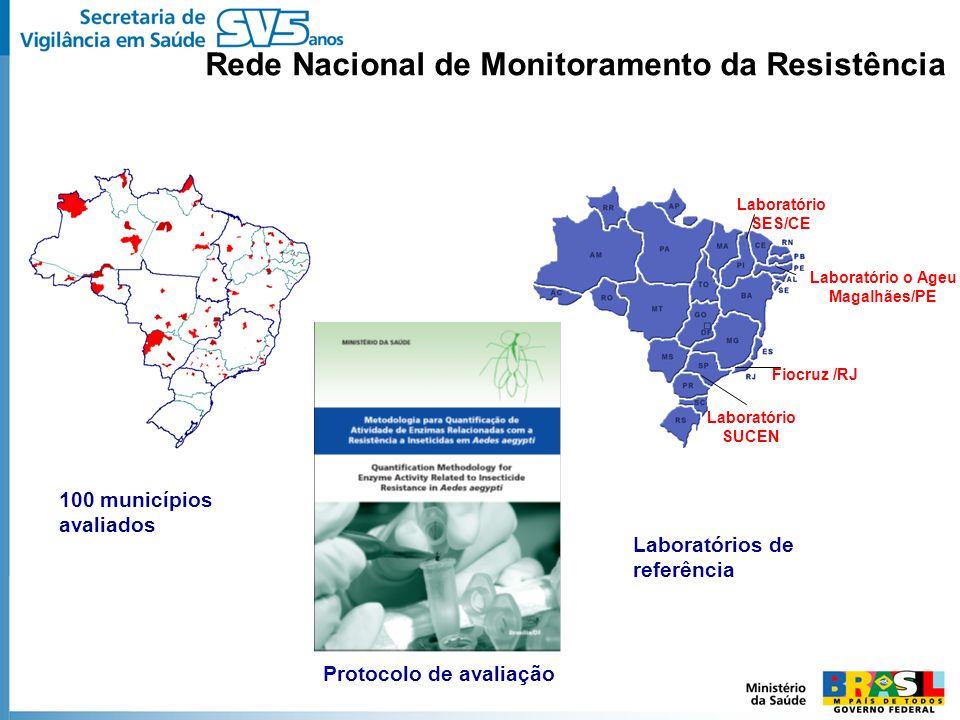 Rede Nacional de Monitoramento da Resistência 100 municípios avaliados Laboratório SES/CE Laboratório o Ageu Magalhães/PE Laboratório SUCEN Fiocruz /R
