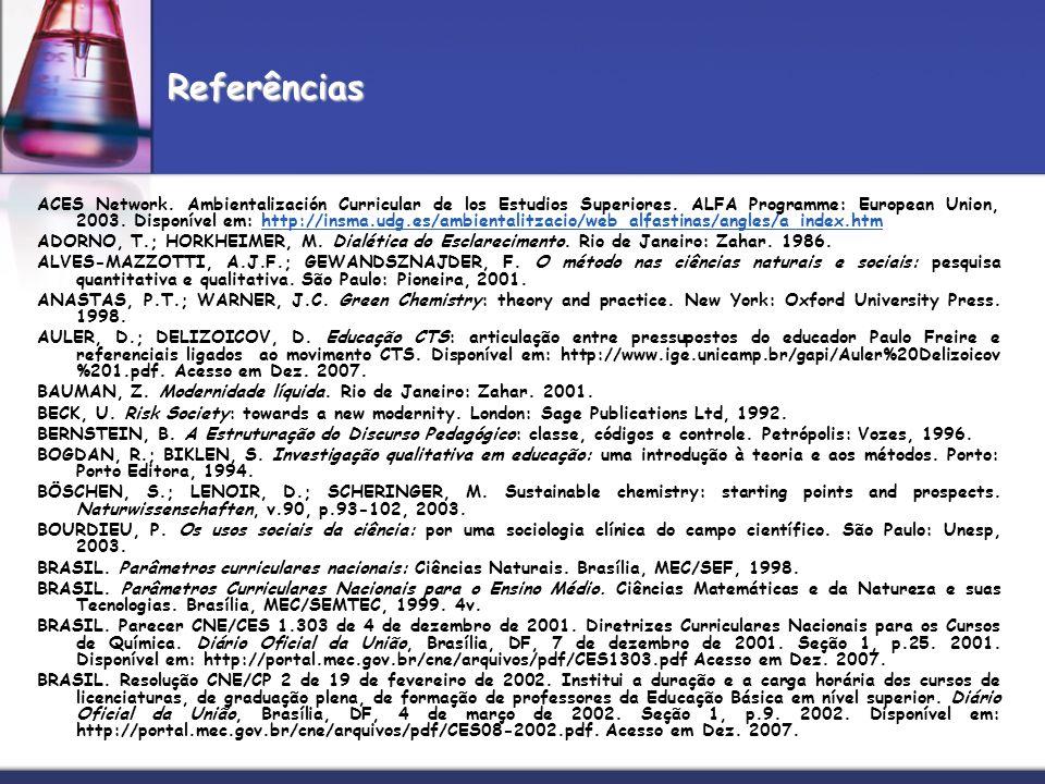 ACES Network. Ambientalización Curricular de los Estudios Superiores. ALFA Programme: European Union, 2003. Disponível em: http://insma.udg.es/ambient