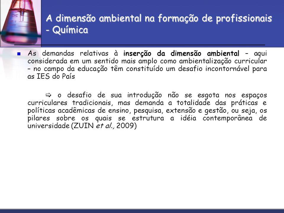 A dimensão ambiental na formação de profissionais - Química As demandas relativas à inserção da dimensão ambiental – aqui considerada em um sentido ma